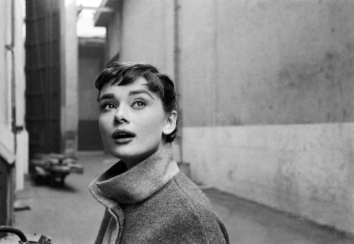 Audrey on the set of Sabrina